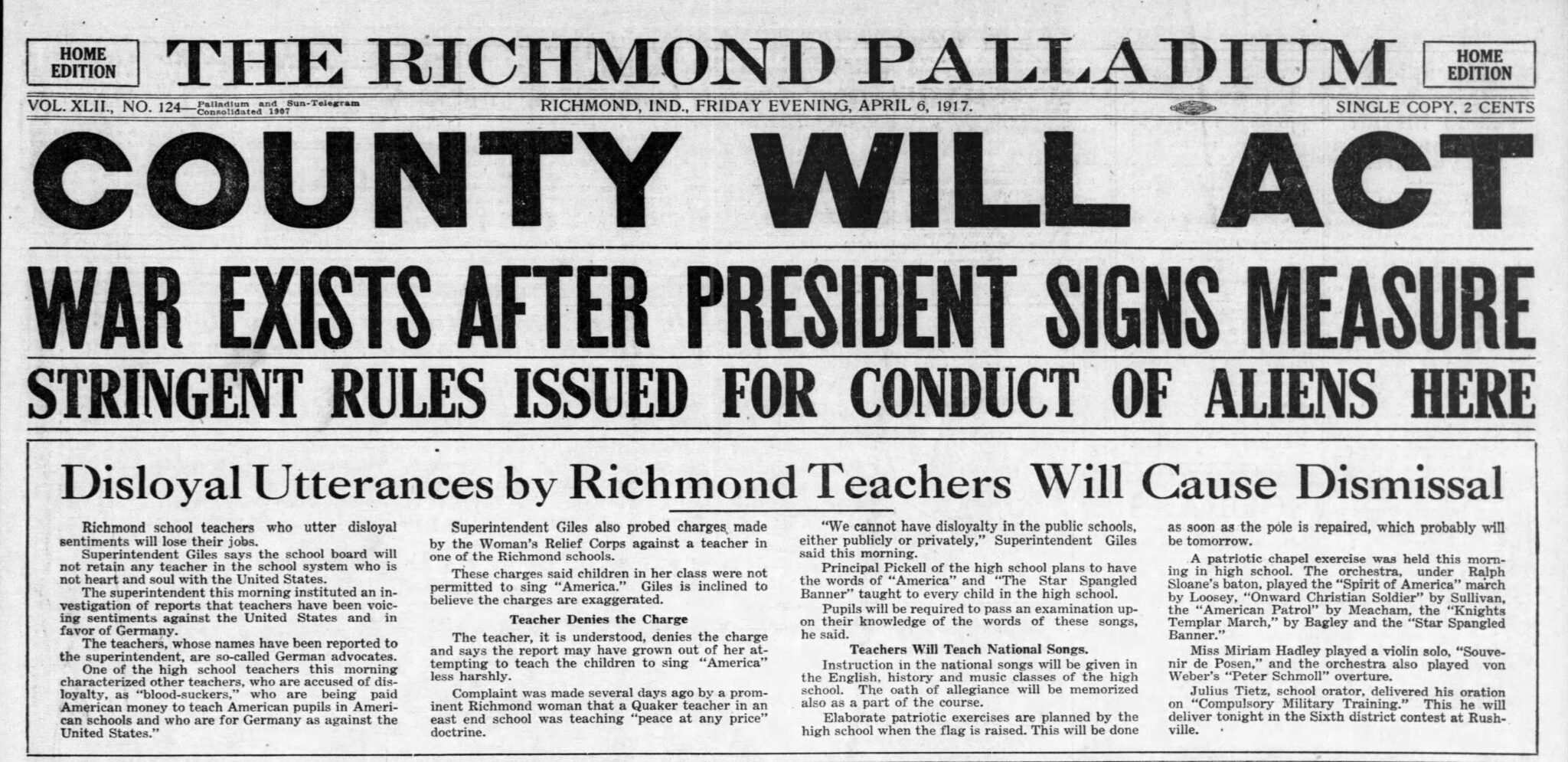 Richmond Palladium headline