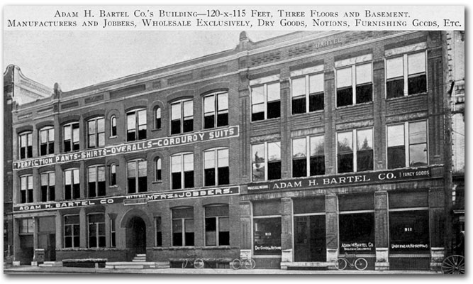 Bartel building on North E Street in 1906