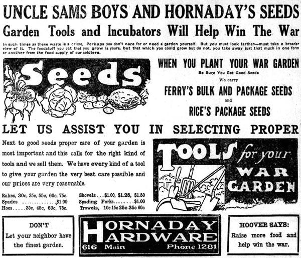 Ad for 1918 War Gardens