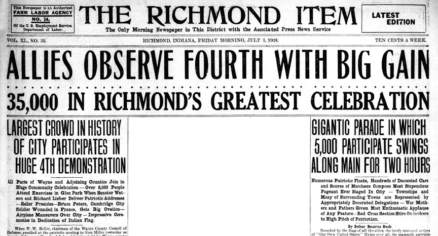 Richmond Item headline for July 4, 1918