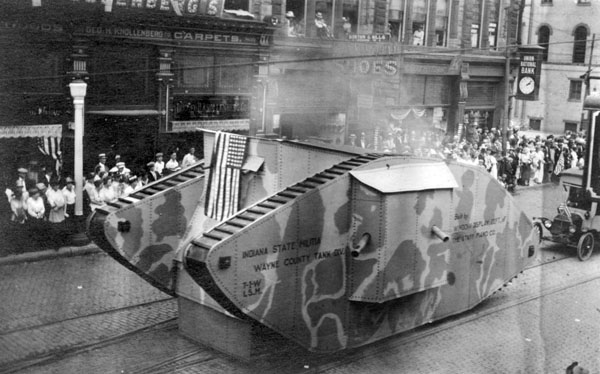"""Tank"" built by Starr Piano Co. in parade"